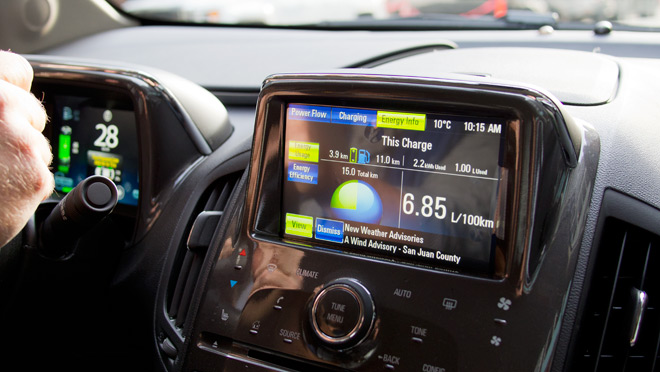 Image of the display panel in the Chevrolet Volt