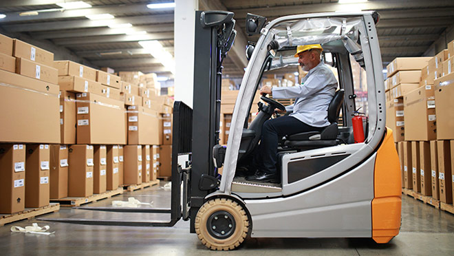 Image of an electric forklift in a warehouse