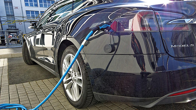 Image of a Tesla Model S charging in Germany