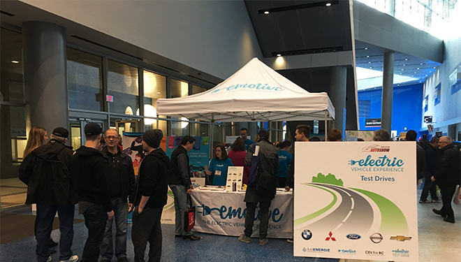 Image of the test drive booth at the 2016 Vancouver International Auto Show