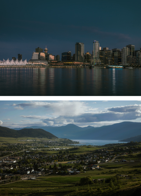 Combined image of landscape photos of downtown Vancouver and Vernon