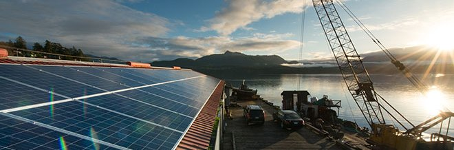 Solar panels at government dock, Alert Bay, part of the village's solar power system that connects government buildings to BC Hydro's electrical system.