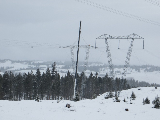 ILM transmission towers in the snow near Merritt