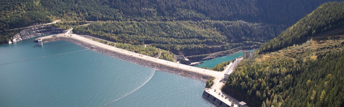 Mica Dam and Kinbasket Lake reservoir