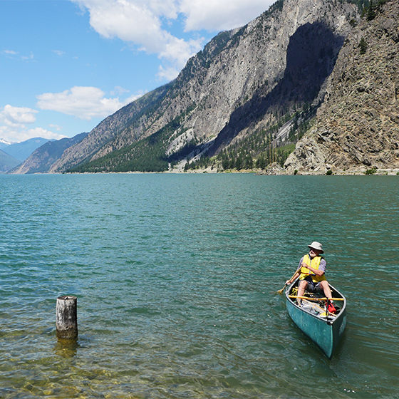Image of canoer on Seton Lake