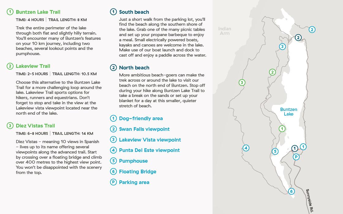 Buntzen Lake Map Explore what Buntzen Lake has to offer