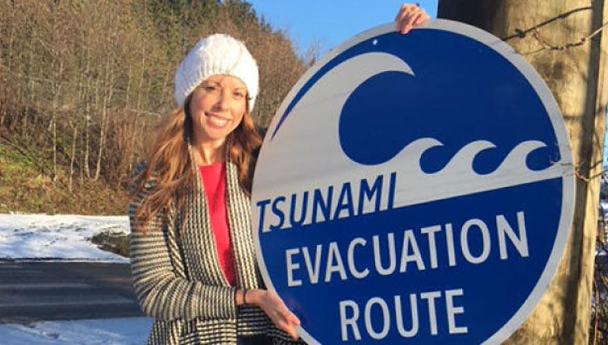 Utility poles to double as tsunami escape map