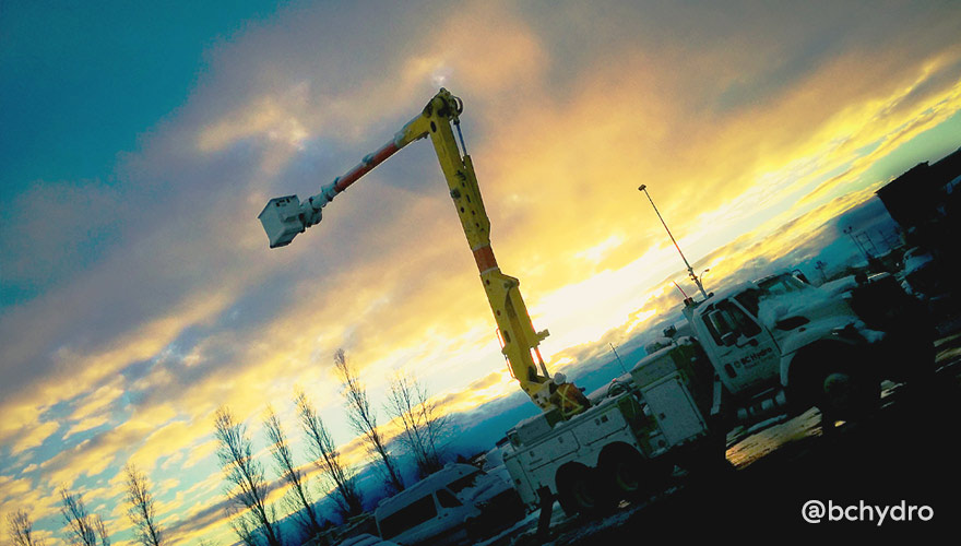 Snowy conditions throughout the day call for emptying our bucket trucks at sunset
