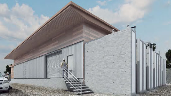 The image shows a rendering of what the new substation may look like.